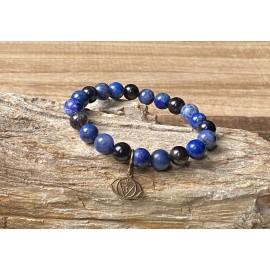 Harmadik szem csakra ásvány karkötő - Szodalit/Iolit/Lapis lazuli