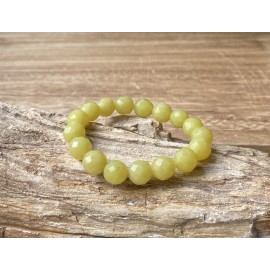 Jade (oliv) ásvány karkötő Fazettált 10mm